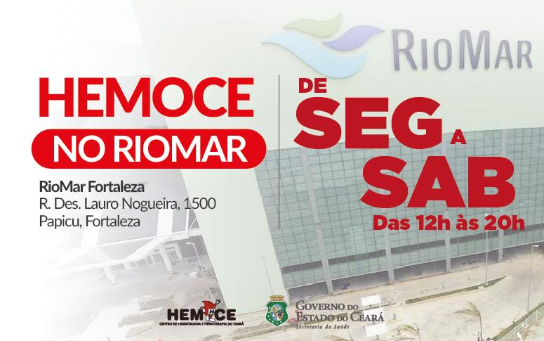 Banner do Hemoce sobre posto de coleta no RioMar